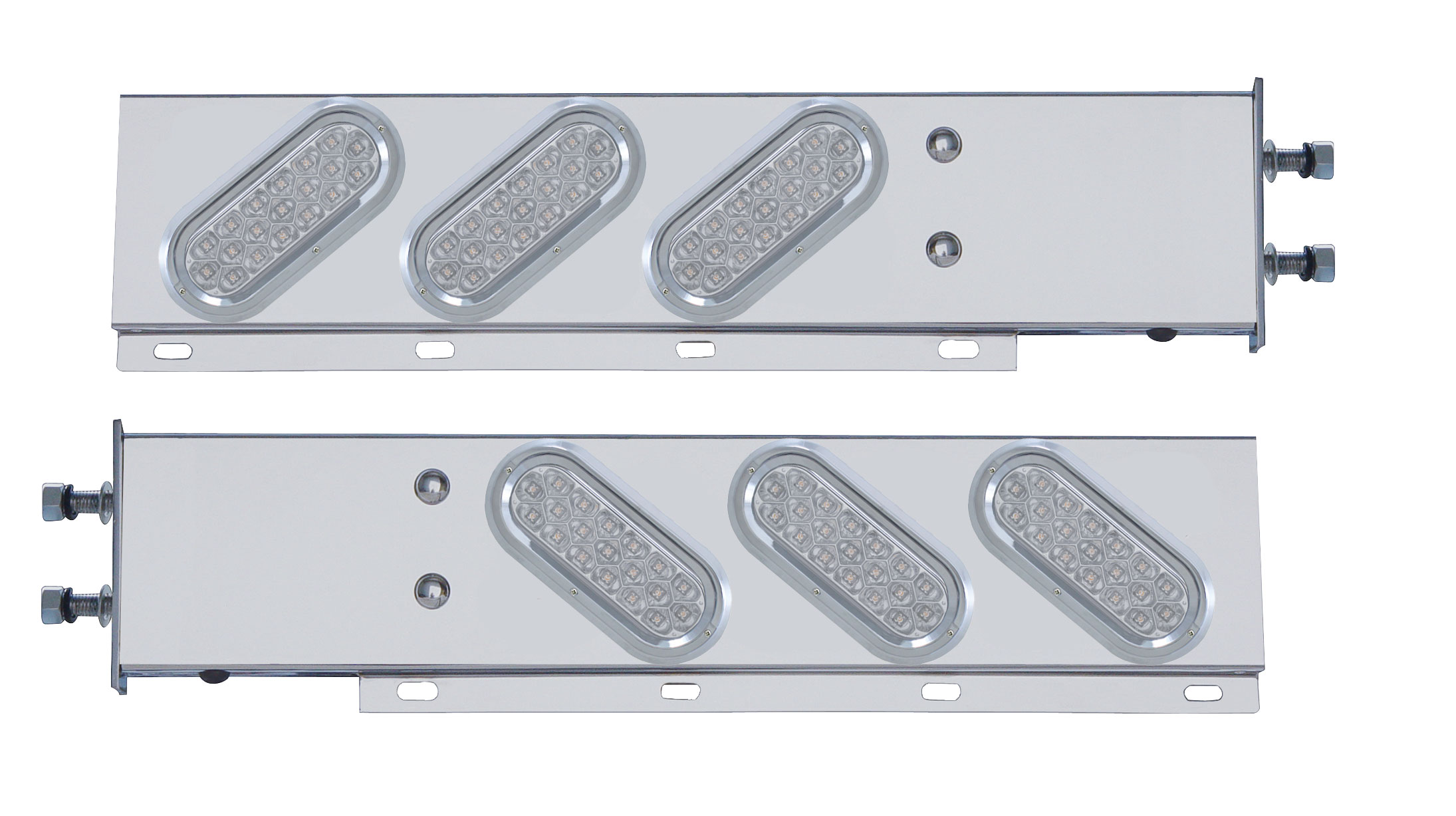 "(2/Bulk) Stainless Steel Spring Loaded Rear Lt Bar W/ 6 Slanted Down 19 Red Led Oval Clear Lens Lt W/ Visor - 3 3/4"" B.P."