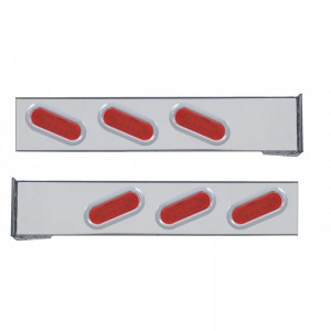 (2/Bulk) Chrome 2 Pcs. Rear Lt Bar W/ 6 Slanted 12 Led Oval Red Lens Reflector Lt W/ Bezel - 4 Hole Flange Mount